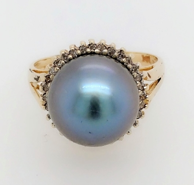 14K Yellow Gold Tahitian Pearl Ring with Diamond Halo Size 7.5