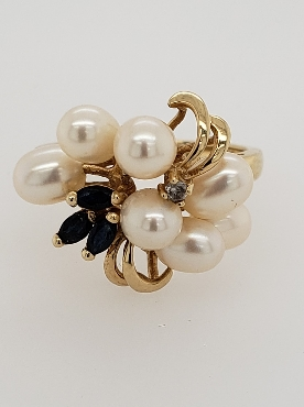 14K Yellow Gold Pearl Cluster Ring with Marquise Cut Sapphires and Accent Diamond Size 7