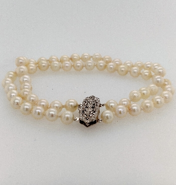 Double Strand Akoya Pearl Bracelet with White Gold Clasp