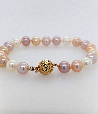 Multi-color Freshwater Pearl Bracelet with 14K Yellow Gold Clasp 7.5   Pearl colors are natural.