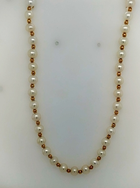 Saltwater Pearl Necklace with 14K Yellow Gold Beads Between Pearls and 14K Yellow Gold Clasp 18