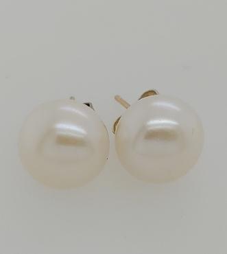 14K Yellow Gold 9.5MM Freshwater Pearl Stud Earrings