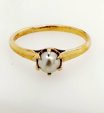 14K Yellow Gold 6 Prong Pearl Solitaire Ring Size 6