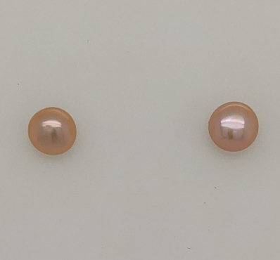 14K Yellow Gold Pink Button Pearl Studs