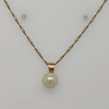 14K Yellow Gold Pearl Pendant On A 21 Inch Twisted Cable Chain