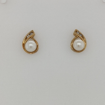 10K Yellow Gold Teardrop Style Pearl Studs with Diamond Accents