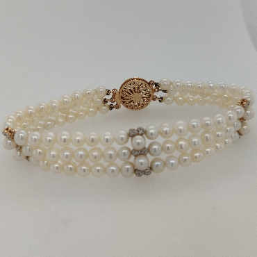 Three Strand Pearl Bracelets with 14K Yellow Gold Stations with Pearl and Diamond Accents and 14K Yellow Gold Clasp