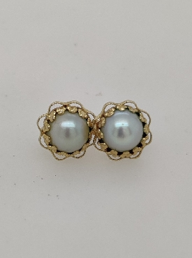 14K Yellow Gold Pearl Studs with Yellow Gold Floral Halo