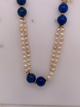 Fresh Water Pearl and Lapis Multi-Strand Necklace with Gold Bead Accents 32 Inches