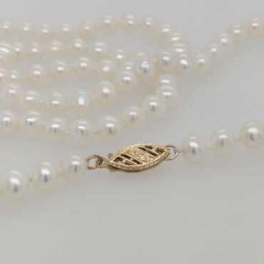 5mm Pearl Strand with 14K White Gold Clasp; 18 inches