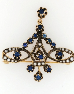 14K Yellow Gold Antique Pin/Brooch with Sapphires and Seed Pearls