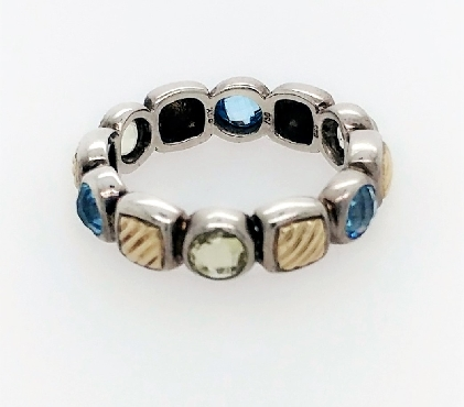 David Yurman sterling silver & 18k YG peridot and blue topaz ring.  Size 7.
