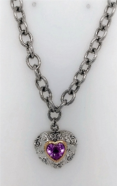 Sterling Silver necklace with 14k yellow gold heart shaped bezel and pink stone 17