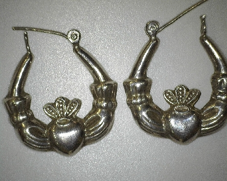Sterling Silver Claddagh Hoops