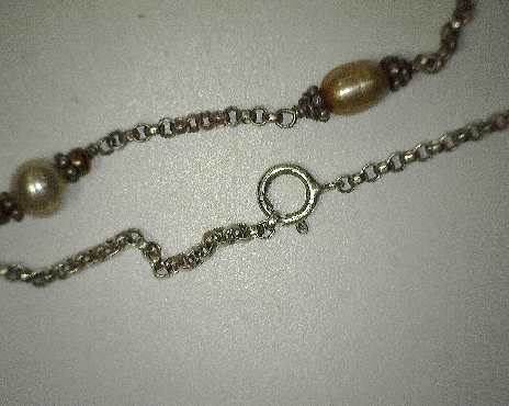 Beaded Rolo Chain Sterling Silver With pearls 17