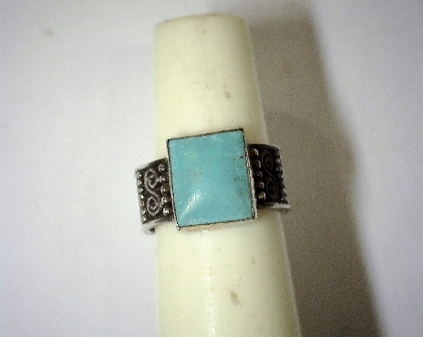 Sterling Silver Wide Band with Square Turquoise Stone Size 8