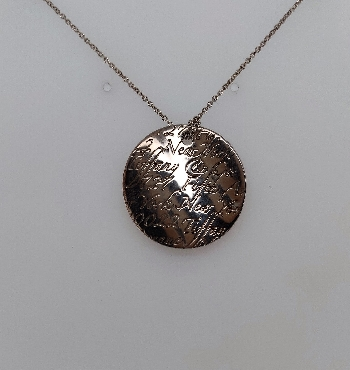 Retired Tiffany & Co Sterling Silver Wavy Fifth Ave Notes Disc Pendant; Large 16   Comes with Pouch; No Box