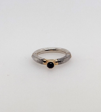 Sterling Silver and 14K Yellow Gold Ring with Cabachon Cut Blue Stone Size 6