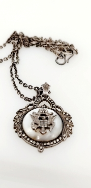Sterling Silver Mother of Pearl Pendant with Marcasite on 20 Inch Chain