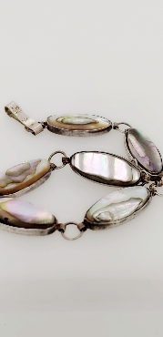 Sterling Silver Abalone Bracelet 7 Inches