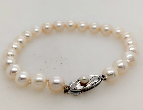 Pearl Bracelet 7.5 Inches with Sterling Silver Clasp