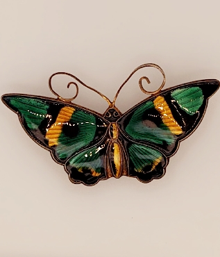 Sterling Silver Mid Century Danish Butterfly Pin with Green and Yellow Inlay Artist: David Andersen