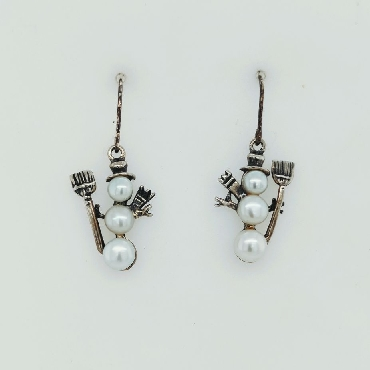 Sterling Silver and Pearl Snowman Drop Earrings on Shepards Hooks