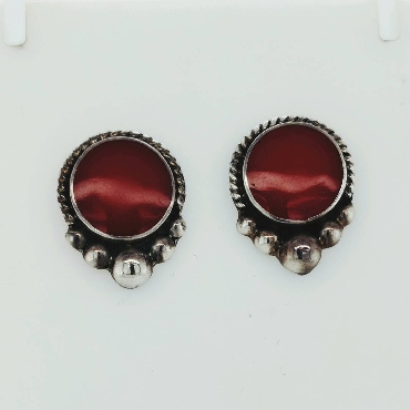 Sterling Silver Circle Stud Earrings with Red Enamel and Beaded Accents