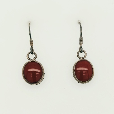 Sterling Silver Circle Drop Earrings with Red Enamel