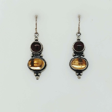 Sterling Silver Drop Earrings with Cabachon Cut Garnet and Citrine