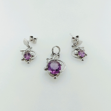 Sterling Silver and Amethyst Floral Pendant and Earring Suite