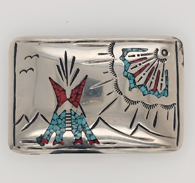 Sterling Silver Native American Belt Buckle with Turquoise and Coral