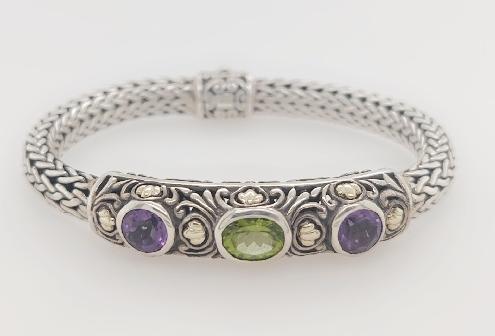 Sterling Silver Bracelet Made by Samuel Benham Peridot and Amethyst