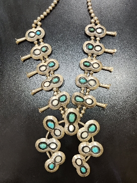 Sterling Silver Vintage Navajo Squash Blossom Necklace with Turquoise and Mother of Pearl  Signed and Numbered by Emerson Castillo