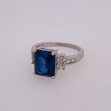Sterling Silver Ring with Blue Stone and CZ Accents Size 7
