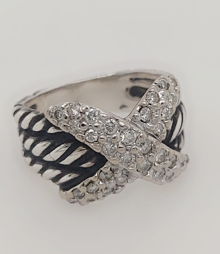 Sterling Silver and 18K White Gold David Yurman Ring with   X   of Diamonds
