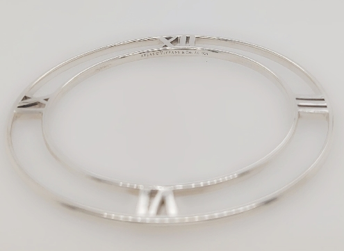Tiffany & Co Sterling Silver Retired Atlas Series Flat Bangle   Comes with Box and Pouch