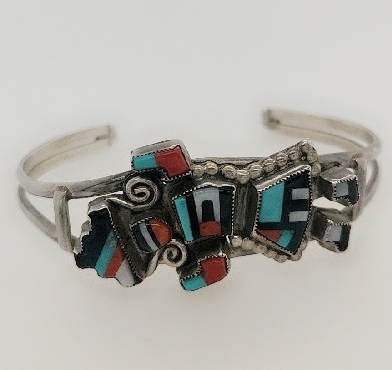 Vintage Sterling Silver Zuni Kachina Doll Cuff Barcelet with Coral;  Mother of Pearl; Onyx; and Turquoise Signed by GB Natachu