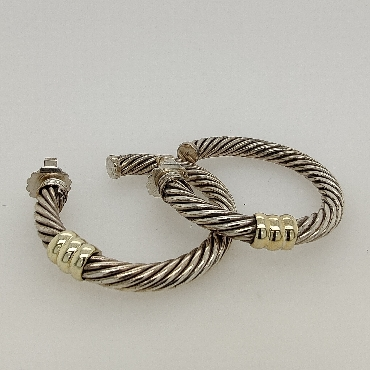 Vintage Sterling Silver and 14K Yellow Gold David Yurman XL Cable Hoop Earrings