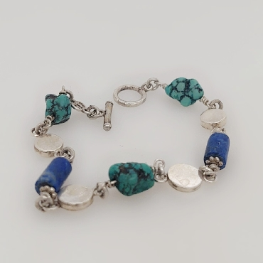 Sterling Silver Lapis and Turquoise Bracelet 8