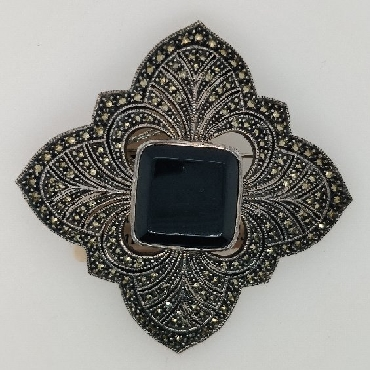 Sterling Silver Marcasite and Onyx Large Flower Brooch