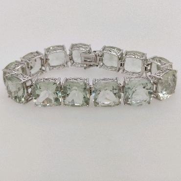 Sterling Silver Tennis Bracelet with Cushion Cut Prasiolite 6.5 Inches