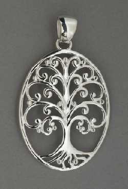 Sterling Silver Southern Gates large oval pendant with live oak tree; spanish moss.  2   high including bale by 1-1/8   wide (approx.) P202