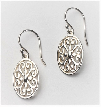 Sterling Silver Southern Gates small oval earrings with hearts. 1-3/4   high by 1/2   wide (approx.) E391