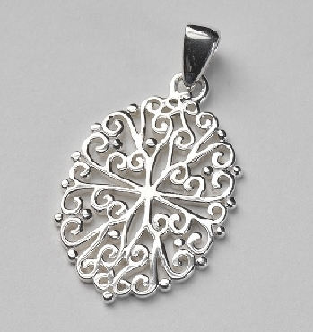 Southern Gates Sterling Silver Pendant oval shape. 1-1/2   high by 7/8   wide (approx.)  P205