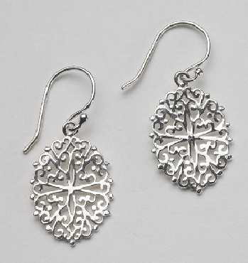 SOUTHERN GATES STERLING SILVER COLLECTION EARRINGS. OVAL FILIGREE.  E390