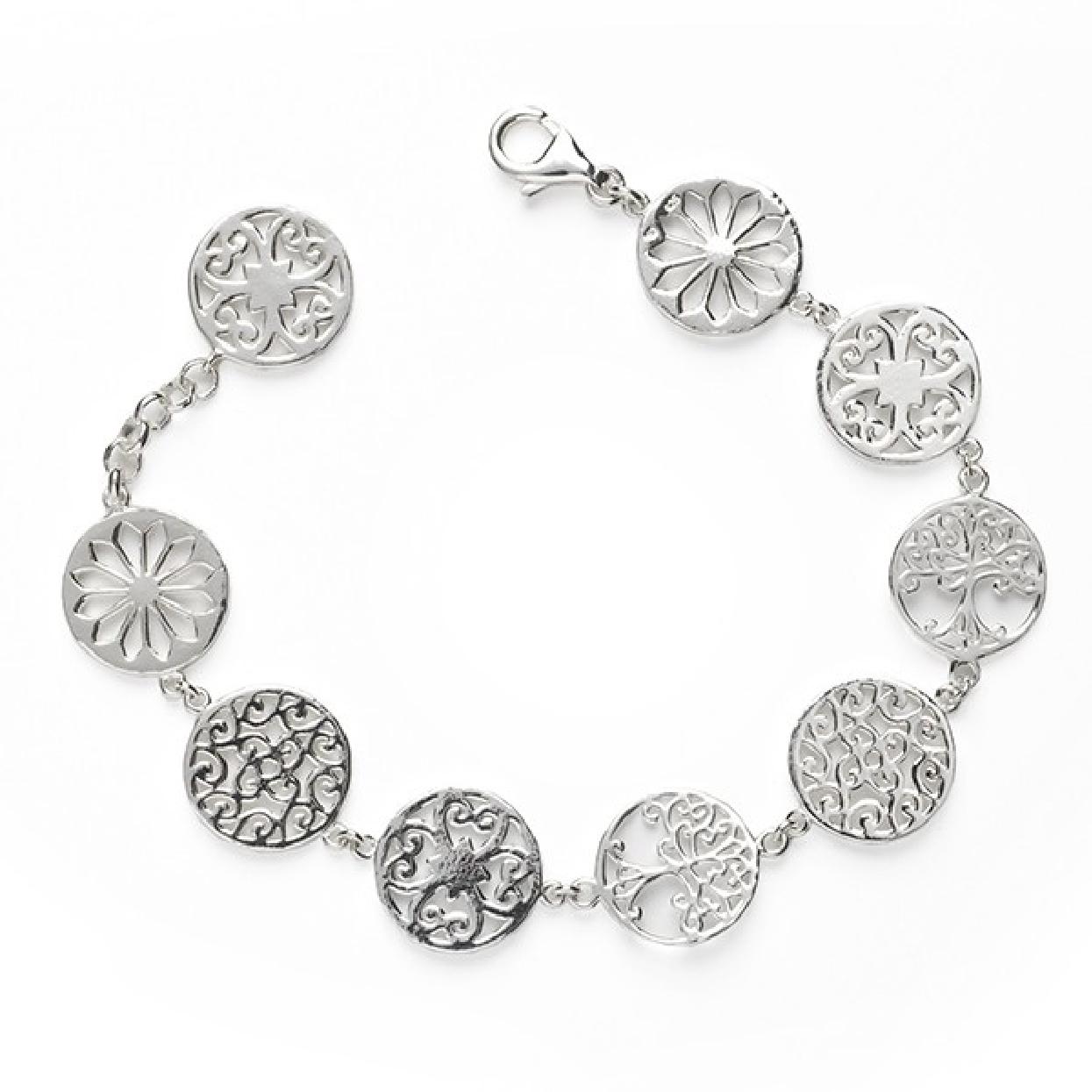Southern Gates Sterling Silver 8   toggle bracelet with live oaks and asstd. gates. B214