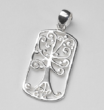 Sterling Silver Southern Gates dog tag pendant live oak tree with spanish moss. 1-3/4   high including bale by 3/4   wide (approx.) P234