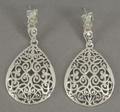 Sterling silver Southern Gates post filigree large teardrop earrings. 2   high by 1   wide (approx.)  E363