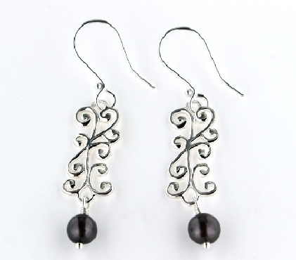 Southern Gates Swirl Earring with Pearl Drop. care139g.